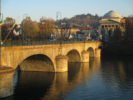 Ponte Vittorio Emanuele, a Beautiful Stone Bridge in Turin of Northern Italy