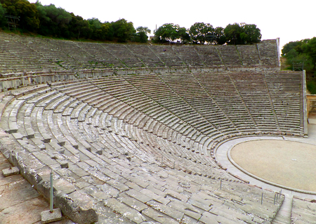 The Incredible Well Preserved Ancient Theater of Epidaurus on Peloponnese Peninsula of Greece, UNESCO World Heritage Banco de Imagens