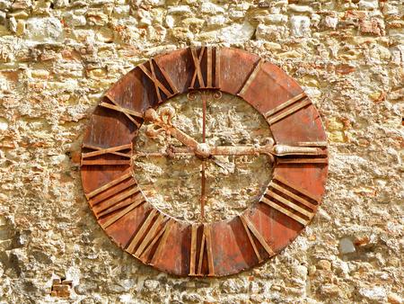 zagreb: Beautiful old clock on the stone wall of Zagreb cathedral, Zagreb, Croatia