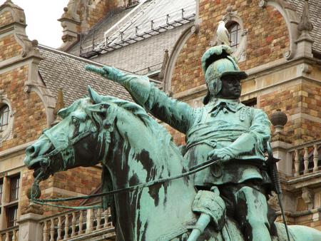 gustaf: Statue of King Charles X Gustaf in front of Nordic Museum (Nordiska museet) in Stockholm, Sweden
