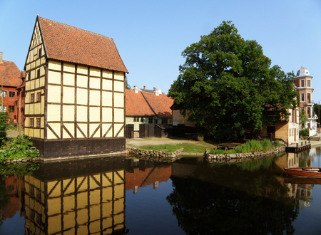 Lovely Traditional Architecture in Den Gamle By, an Open-air Town Museum in Aarhus, Denmark