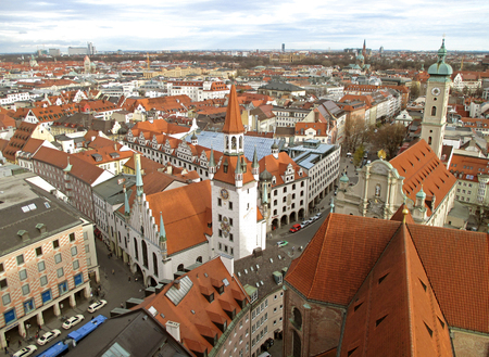 Stunning view of Munich cityscape with the old town hall, seen from tower of St. Peters church, Munich, Bavaria, Germany Stock Photo