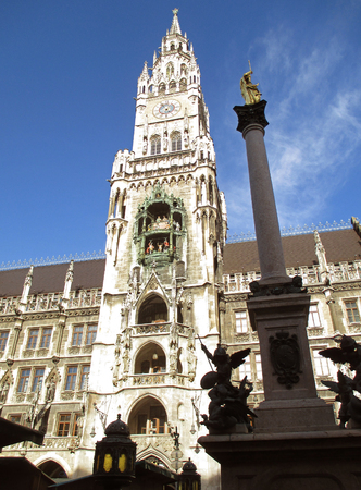 Tower of New Town Hall or Neues Rathaus with the Marian Column in Munich, Bavaria, Germany
