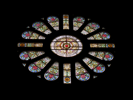 Gorgeous stained glass rose window in the Basilica of St. Nicholas, Amsterdam, The Netherlands