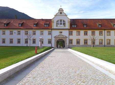 Walkway to the Vintage Building inside Ettal Abbey in Garmisch-partenkirchen, Bavaria, Germany