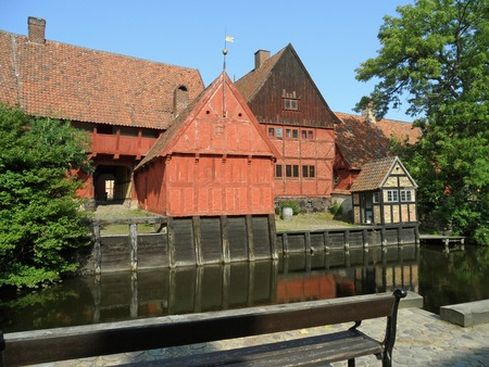 Unique Traditional Architecture in the Open-air Town Museum Den Gamle By, Aarhus of Denmark Stock Photo