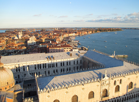 Stunning View of the Famous Doges Palace and Venice Cityscape with the Evening Moon, Italy