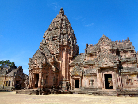 lintel: Prasat Hin Phanom Rung, Ancient Khmer Temple against vivid blue sky, Buriram Province of Thailand