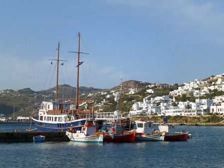The Picturesque Old Port of Mykonos and the Pure White Colored Mykonos Town, Mykonos Island of Greece