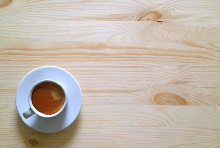 One Cup of Espresso on the Wooden Table, Horizontal Top View Photo with Free Space for Text or Design Stok Fotoğraf