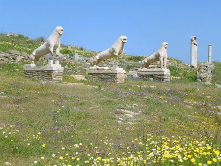 Lions of the Naxians, Ancient Lion Statues and the Sanctuary at the Terrace of the Lions, Archaeological Site of Delos, Delos Island, Greece