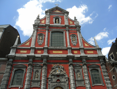 Church of Our Lady of Immaculate Conception, Stunning Red Colored Baroque Style Church in Liege of Belgium