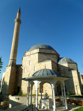 balkans: The historic Sinan Pasha Mosque with beautiful shadirvan or fountain, Prizren of Kosovo Stock Photo