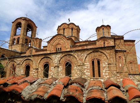 balkans: Impressive Church behind the barbed wire, Church of the Ljevisa Virgin in Prizren, Kosovo