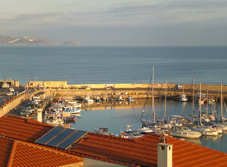 Marina at the Old Port of Heraklion in the Morning Sunlight, Crete Island of Greece Stock Photo
