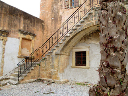 The Inner Yard of Historic Arkadi Monastery in Rethymnon, Crete island, Greece