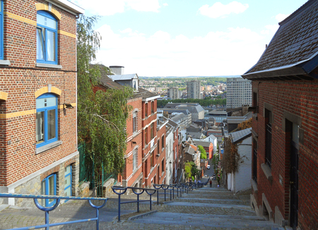 The Long Stairway of 374 Steps to Bueren Mountain Top in Liege, Wallonia Region, Belgium
