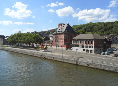 Vintage Buildings on the Meuse Riverbank at Liege, Wallonia Region, Belgium