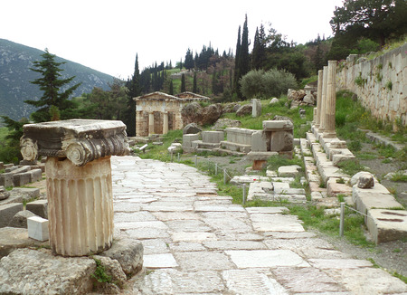 athenians: The sacred way leading to the Treasury of the Athenians in Archaeological Site of Delphi, Greece