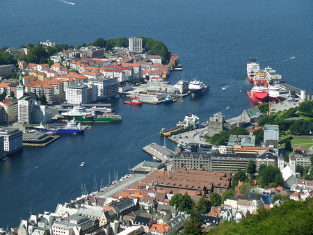 Stunning aerial view of Bergens harbor and the city center of Bergen, Hordaland, Norway