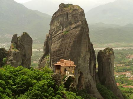 Impressive View of The Holy Monastery of Roussanou, Meteora, Greece Stock Photo