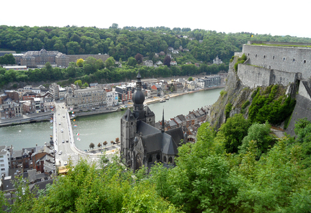 Impressive aerial view of Dinant as seen from the Citadel of Dinant, Wallonia Region, Belgium Stock Photo