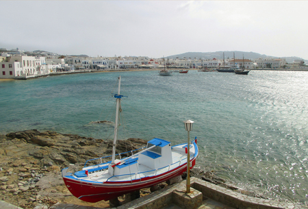Panoramic View of the Mykonos Old Port on a Sunny Day, Mykonos Island of Greece Stock Photo