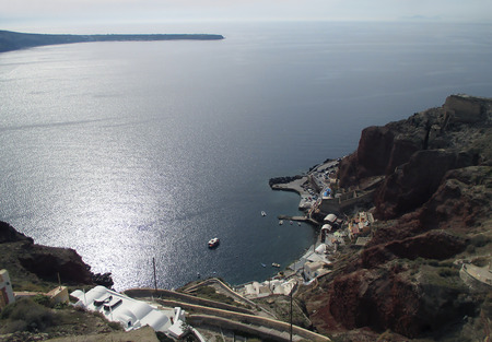 The Cruise Port and the Aegean Sea View from Caldera Cliffs of Santorini Island, Greece