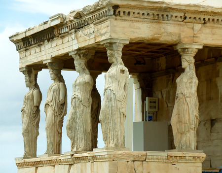 The Impressive Caryatid Porch of the Erechtheum Ancient Greek Temple on the Acropolis, Athens, Greece