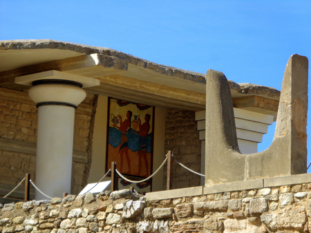 Sacred Horn and the Cup-Bearer Fresco at Knossos, Crete Island of Greece