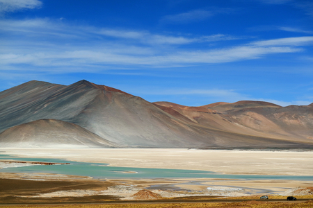 The picturesque Salar de Talar with Mount. Cerro Medano in background, Chile Reklamní fotografie