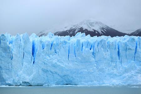 Breathtaking huge ice blue wall of Perito Moreno Glacier in the Los Glaciares National Park, El Calafate, Patagonia, Argentina Stock Photo