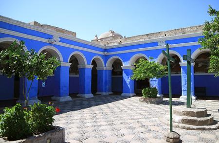 Vivid Blue Arch in the Cloister of Santa Catalina (Saint Catherine) Monastery, Arequipa, Peru Editorial