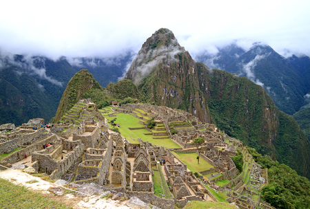 Machu Picchu on a Rainy Day, Urubamba Province, Peru, Archaeological site