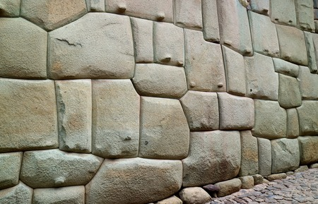 Incredible Inca Wall on Hatun Rumiyoc Street, Famous Ancient Street in Cusco, Peru, South America, Archaeological site