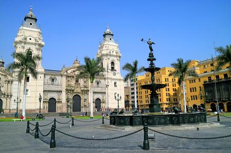 The Basilica Cathedral of Lima on Plaza Mayor Square, Lima, Peru, South America