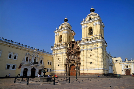 Basilica and Convent of San Francisco in the Historic Center of Lima, UNESCO World Heritage Site, Lima, Peru, 19th May 2018