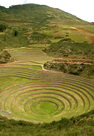 The Incan Ruins of Moray, terraced rings on the high plateau of the village of Maras Archaeological site, Cusco Region, Peru Stock Photo