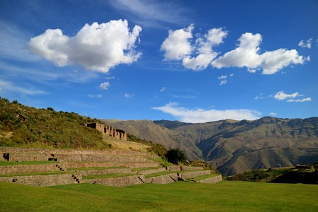 Tipon archaeological site, incredible remains of agricultural terraces of the Inca in Sacred Valley, Cusco region, Peru