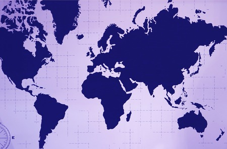 World Atlas Wall Decoration in Navy Blue and Pastel Purple Color