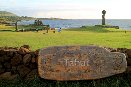 Ahu Tahai, the Ceremonial Platform with Moai Statues, Famous Place for Watching Sunset on Easter Island, Pacific Ocean, Chile, 12th April 2018
