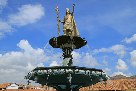 Statue of Pachacuti Inca Yupanqui on the Fountain Top at Plaza de Armas, the Main Square of Cusco, Peru
