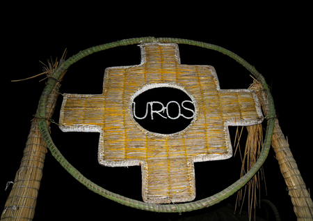 The Inca Cross or Chakana, the Symbol of the Old Cultures of the Andes Made from Totora Reed, the Gate on Uros Floating Islands, Lake Titicaca, Peru