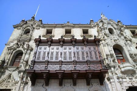 Stunning Facade of the Archbishop's Palace of Lima on Plaza Mayor, Lima, Peru, South America