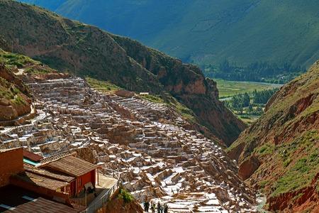 The Salt Pans of Salineras de Maras, the Sacred Valley of the Incas, Cusco region, Peru Imagens