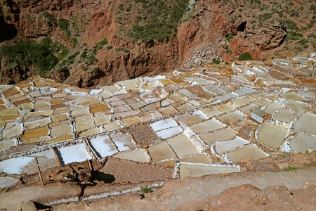 The Salt Ponds of Salineras de Maras, Sacred Valley of the Incas, Cusco region, Peru, South America