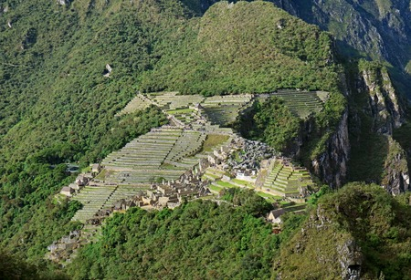 Amazing aerial view of the famous Machu Picchu Incas citadel as seen from Huayna Picchu mountain, Cusco Region, Peru