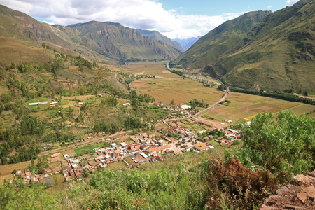 Impressive panoramic view of Cusco region countryside, the Sacred Valley of the Incas, Peru Imagens