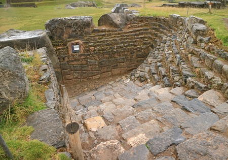 Remains of Inca Structure in the Rain, Sacsayhuaman Archaeological Park, Cusco, Peru