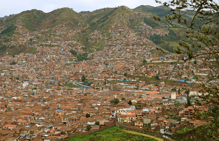 Cityscape of Cusco city view from Sacsayhuaman archaeological park, Cusco region, Peru